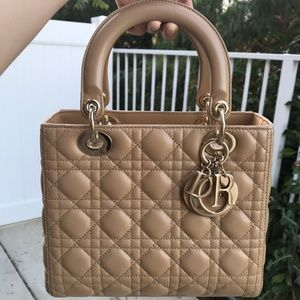 LAMBSKIN CANNAGE LADY DIOR MEDIUM BEIGE